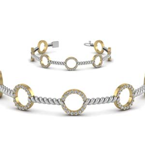 Open Circle Diamond Twist Bracelet
