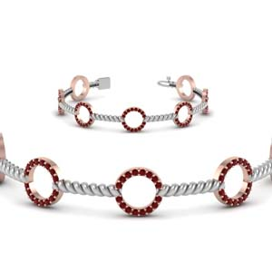 Ruby With Rope Style 2 Tone Bracelet