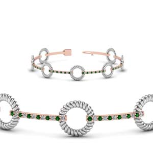 Two Tone Rope Emerald Bracelet