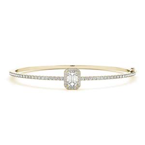 Emerald Cut Halo Bangle Bracelet