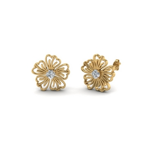 Hibiscus Diamond Stud Earring