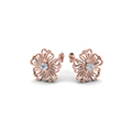 hibiscus round flower diamond stud earring in FDOEAR40002ANGLE1 NL RG