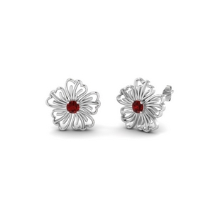 Flower Ruby Stud Earring