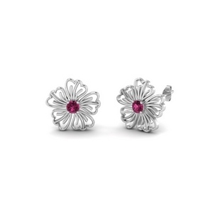 Pink Sapphire Hibiscus Earring