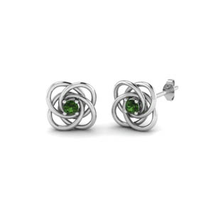 celtic knot emerald stud earrings for women in 950 Platinum FDOEAR40006GEMGR NL WG
