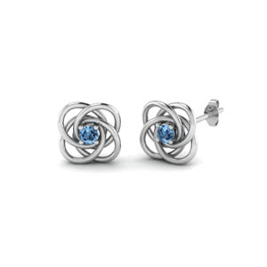 Celtic Knot Blue Topaz Stud Earring