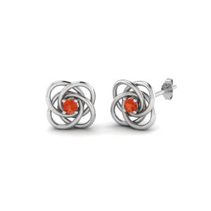 Platinum Orange Topaz Celtic Earring