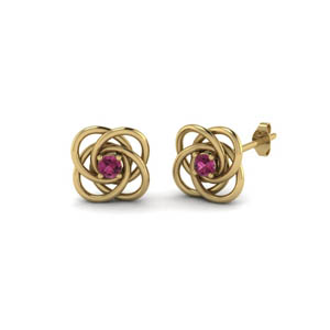 Pink Sapphire Love Knot Stud Earring