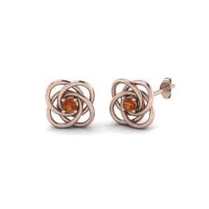 18K Rose Gold Orange Sapphire Stud Earring