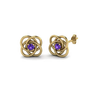 Beautiful Purple Topaz Love Knot Earring
