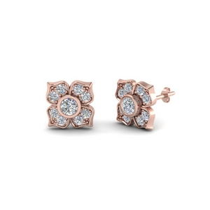 de984c9b7 flower diamond stud earring for women in 14K rose gold FDOEAR40248 NL RG.  Add to Cart. SKU: FDOEAR40248. Dazzling four petal ...