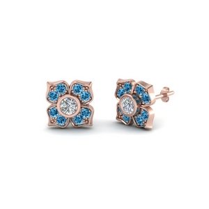 Flower Stud Earring With Blue Topaz