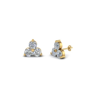 Small Stud Three Stone Earring