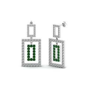 Emerald Open Square Earring