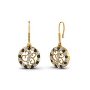 Open Circle Black Diamond Drop Earring