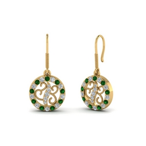 Rope Design Emerald Drop Earring