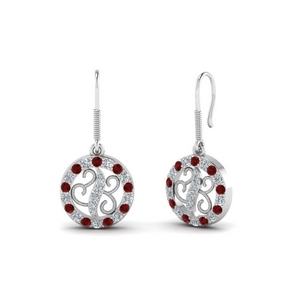 White Gold Dangle Ruby Earring