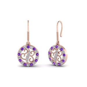 Rope Pattern Purple Topaz Earring