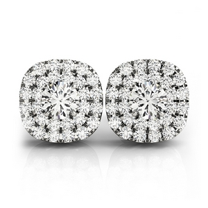18K White Gold Double Halo Stud Earring