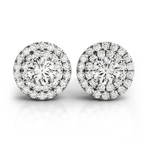 Platinum Double Halo Stud Earring