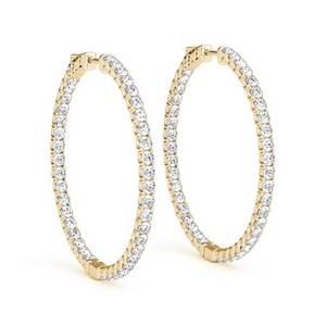 Thin Diamond Yellow Gold Earring