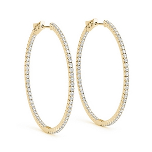 large hoop earring diamond inside out in FDOEAR 41008ANGLE1 NL YG
