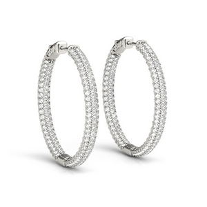 14K White Gold Pave Diamond Hoop Earring