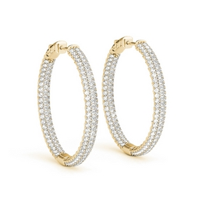 18K Yellow Gold Inside Out Hoop Earring