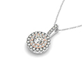 2 tone doubale round halo diamond necklace in FDOPD32438 NL WG