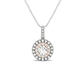 2 tone doubale round halo diamond necklace in FDOPD32438ANGLE1 NL WG