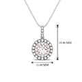 2 tone doubale round halo diamond necklace in FDOPD32438ANGLE1 NL WG HW