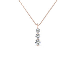 14K Rose Gold Round Diamond Pendant
