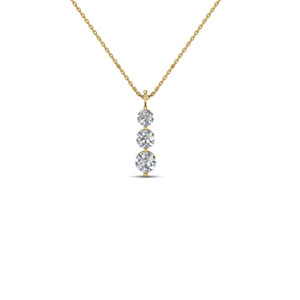 14K Yellow Gold 3 Stone Pendant