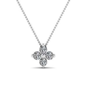 Floral White Gold Pendant