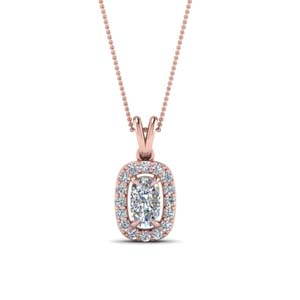 Halo Cushion Diamond Pendant