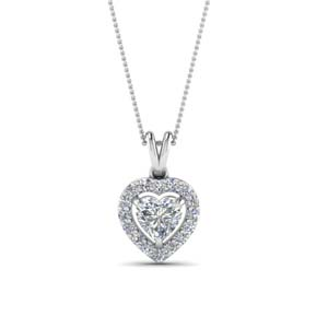 Heart Shaped Halo Diamond Pendant