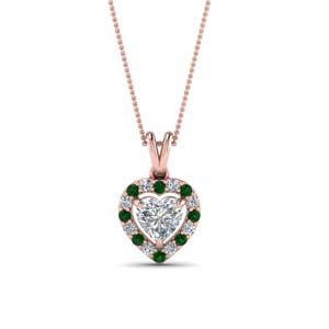 Heart Halo Diamond Pendant With Emerald