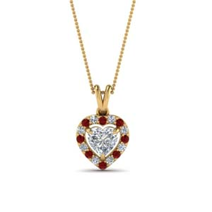 Heart Diamond Halo Ruby Pendant