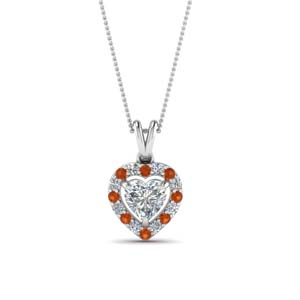 Orange Sapphire With Halo Pendant
