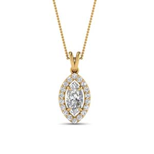 Halo Marquise Diamond Pendant