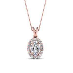 Halo Oval Diamond Pendant
