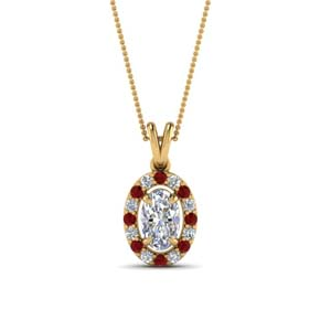 Halo Ruby Pendant Necklace
