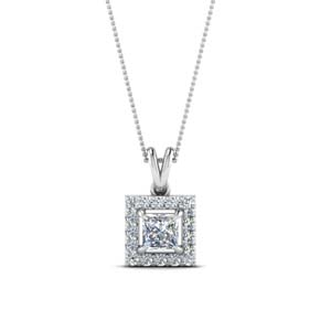 Princess Diamond Halo Pendant