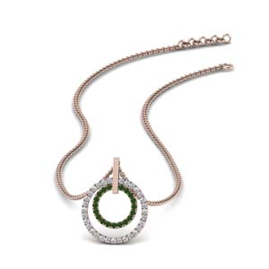Emerald Pendant In 18K Rose Gold