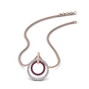 Pink Sapphire Dual Circle Pendant