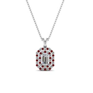 Emerald Cut Double Halo Pendant