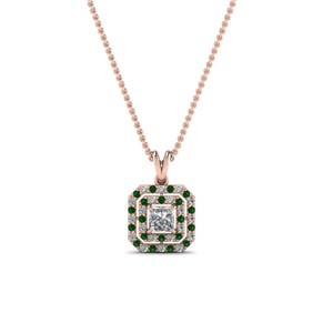 Double Halo Emerald Pendant