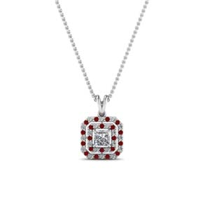 Princess Cut Necklace With Ruby