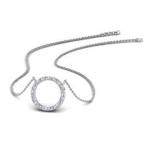 Hollow Circle Diamond Pendant