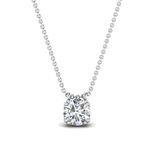 1 carat diamond solitaire pendant in 14K white gold FDPD1935RO(1CT)ANGLE1 NL WG